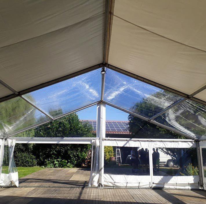 Chapiteaux Paucot et fils - chapiteau 10m + fenetre + pignon + toit christal
